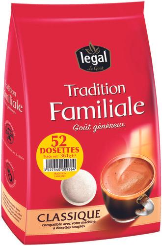 Paquet de 52 dosettes de café compatibles Senseo Legal Tradition Familiale