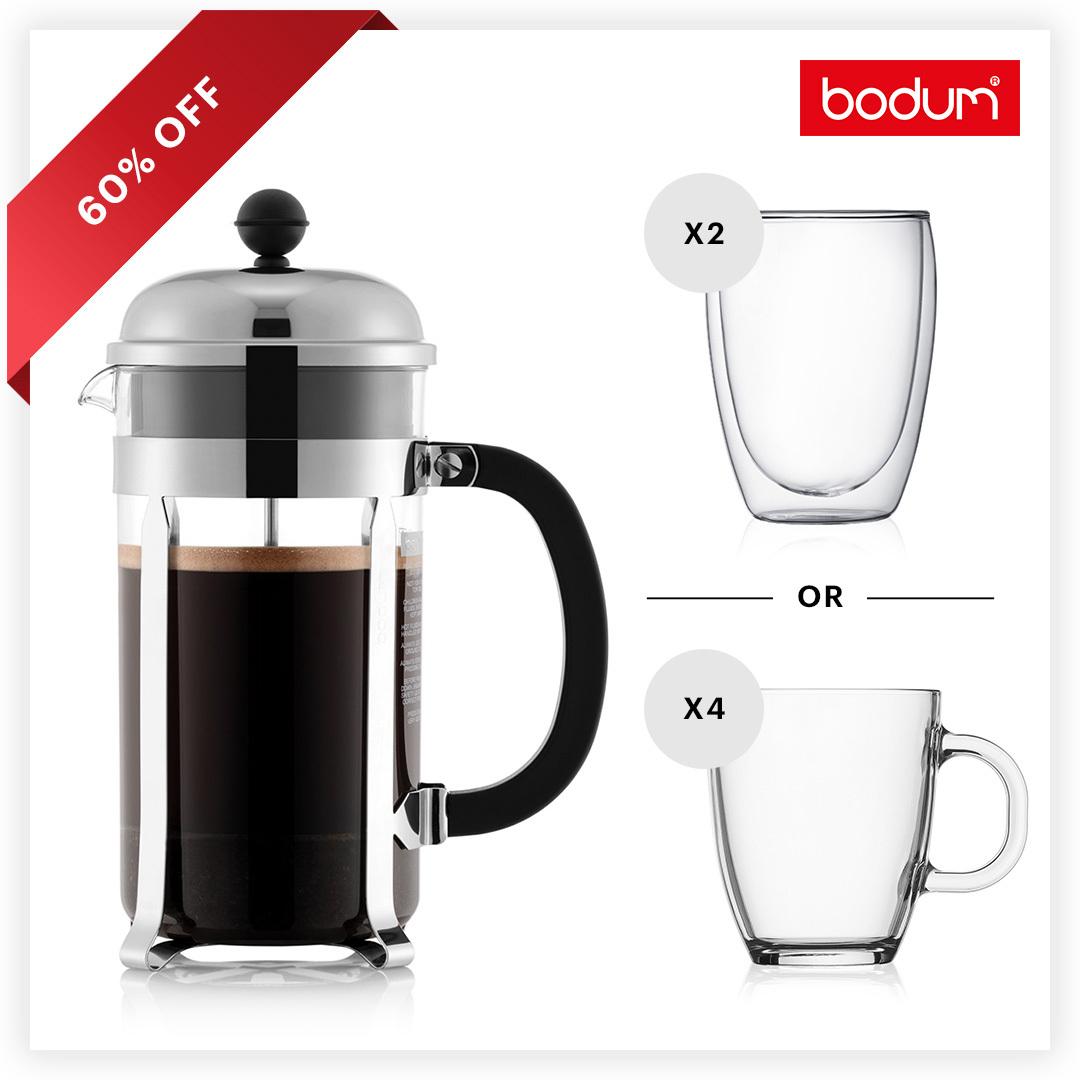 Cafetière à piston Bodum Chambord (1 L) + 4 mugs en verre trempé Bodum Bistro (35 cl) ou 2 verres double paroi Pavina (45cl)
