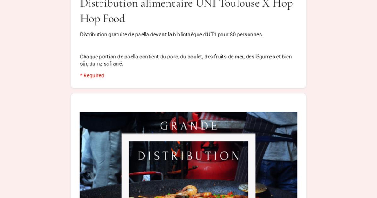 [Etudiants] Distribution gratuite de paella - Toulouse (31)
