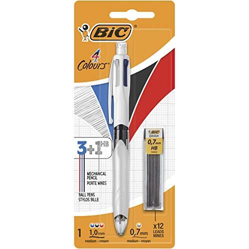 BIC 4 Couleurs 3+1 HB Stylo-Bille et Porte-Mines - Blister de 1 + 12 Mines 0,7 mm HB