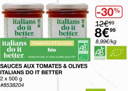 [Carte Costco] Sauce Tomate bio : Italians do it Better - Costco Villebon sur Yvette (91)