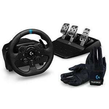Volant de course avec Pédalier Logitech G923 + Gants Racing Gloves