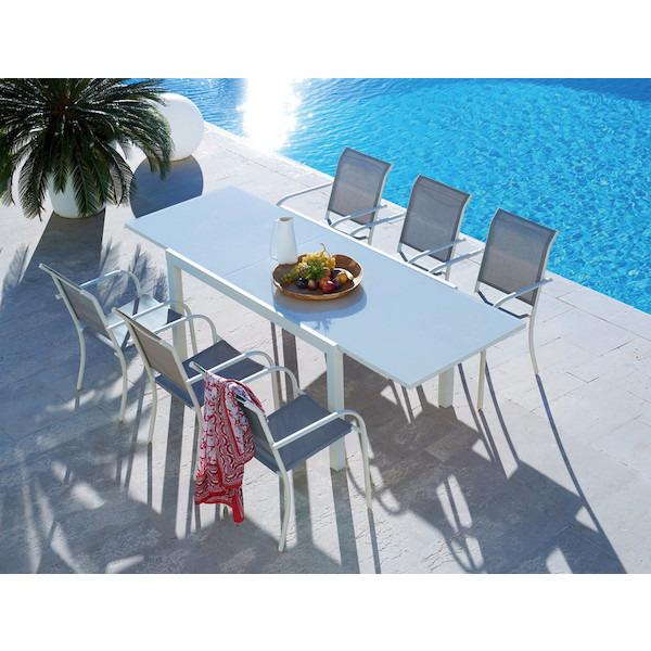 Table de jardin extensible Tello (150/250 x 90 x 75 cm) + 6 chaises Hyba (Assise textilène)