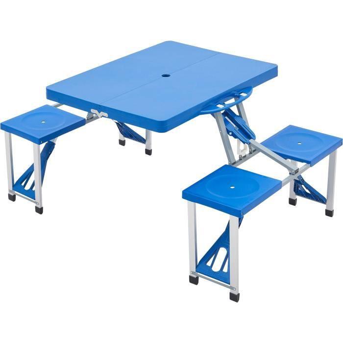 Table de camping Surpass - 4 sièges intégrés.
