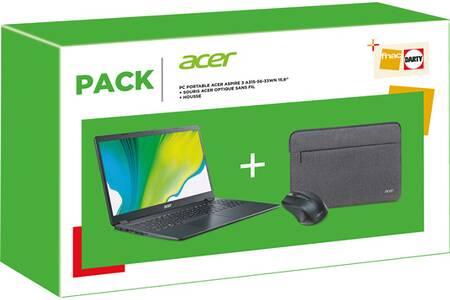 "Pack PC Portable 15.6"" Acer Aspire A315-56-33WN (i3-1005G1, 8Go RAM, 256Go SSD) + Souris sans fil + Housse"