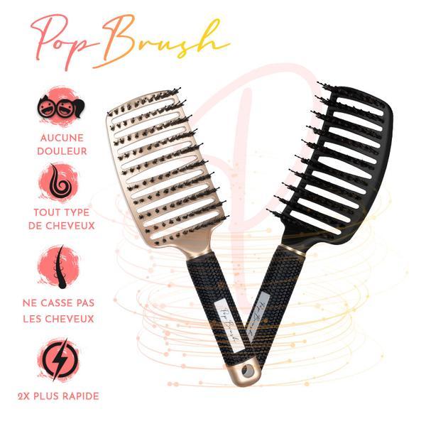 Lot de 2 brosses à cheveux démêlantes anti-casse - Coloris au choix (popbrush.fr)