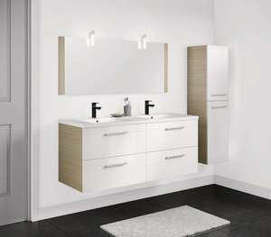 Ensemble meuble à suspendre + plan vasque + miroir Kaza