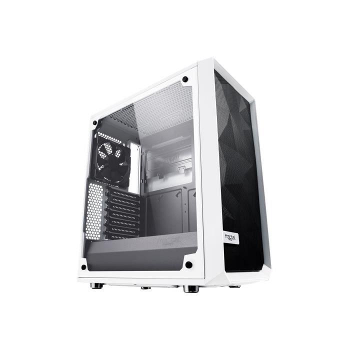 Boîtier PC Fractal Design Meshify C TG - Blanc, ATX, Vitre verre trempé