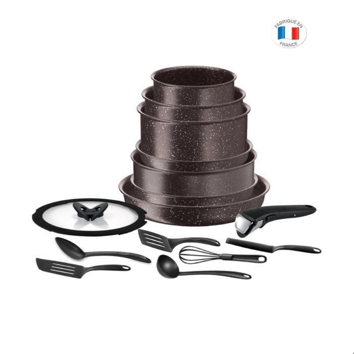 Batterie de cuisine Tefal L6789102 Ingenio extrême - 15 pièces, Marron effet pierre, Tous feux dont induction