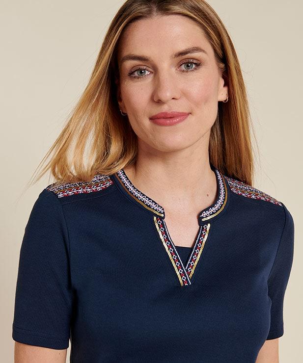 Sélection d'articles en promotion - Ex : tee-shirt pur coton col tunisien brodé - différents coloris (du 34 au 56)