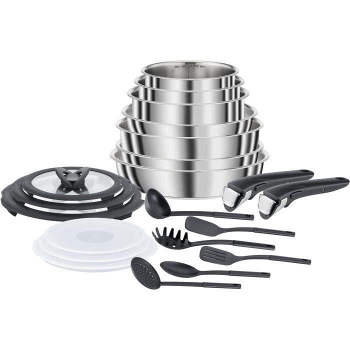 Batterie de cuisine Seb Compact Inox L953SK04 - 20 pcs (Poêles, Casseroles, Sauteuse, Couvercles, Spatules, Poignées), Tous feux & induction