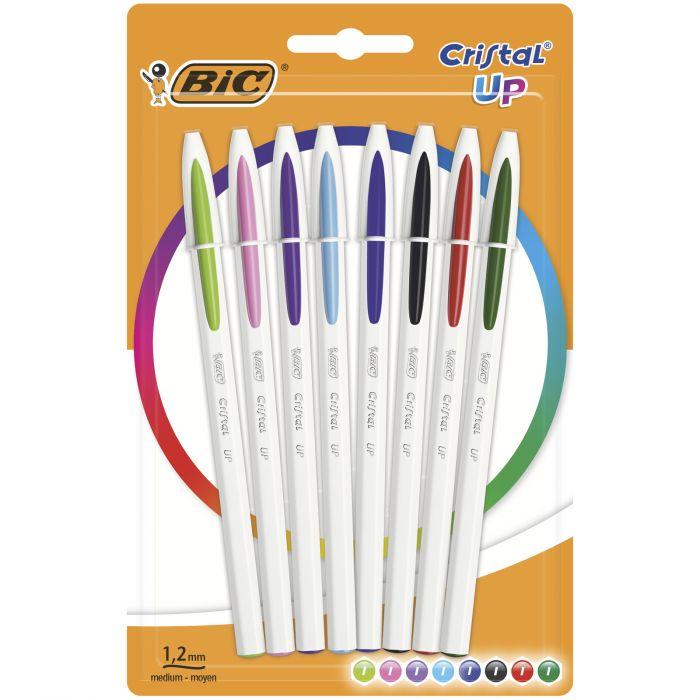 Paquet de 8 stylos assortis Bic Cristal UP - Pointe Moyenne (1,2 mm)