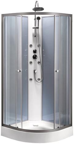Cabine de douche complète - 85x85cm (Receveur + Colonne + Buses Hydromassantes)