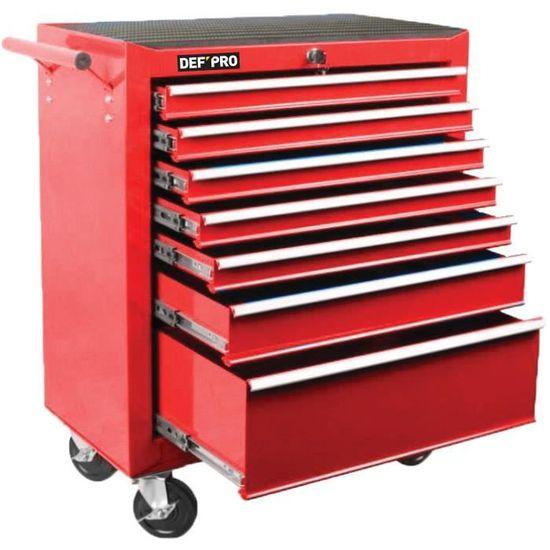 Servante 7 tiroirs Def'Pro - en métal, rouge