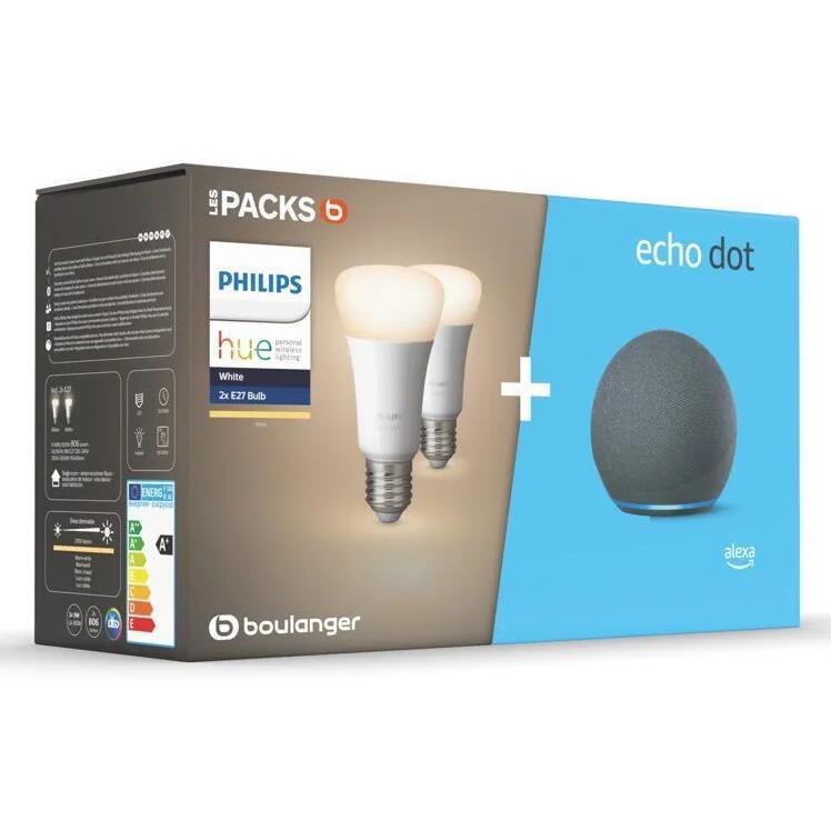 Assistant vocal Amazon Echo Dot 4 + Lot de 2 Ampoules connectées Philips Hue White E27 (+ 1.35€ en Rakuten Points) - Boulanger