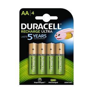 Lot de 4 piles rechargeables Duracell AA - 2500 mAh