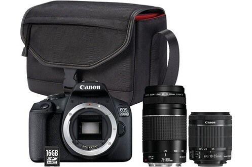 Appareil photo Reflex Canon EOS 2000D + 2 Objectifs (18-55mm f/3.5-5.6 & 75-300mm f/4-5.6) + Sac + SD 16 Go (+ 40€ en carte cadeau)