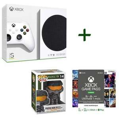 Console Microsoft Xbox Series S - SSD 512Go + Abonnement Game Pass Ultimate 1 mois + Figurine Pop - Halo - Spartan Mark VII