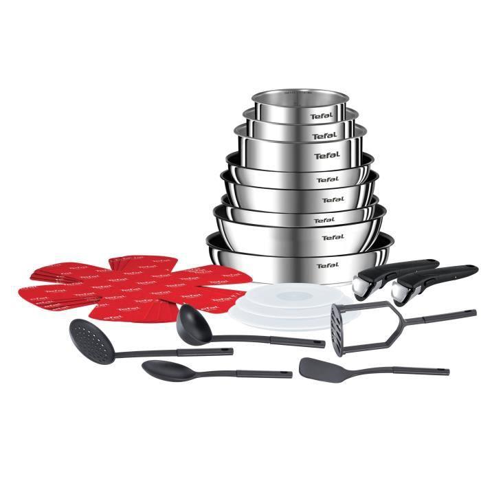 Batterie de cuisine Tefal Ingenio Emotion L925SM14 - 22 pièces, Inox (Tous feux dont induction)