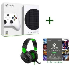 Pack Xbox : Console Microsoft Xbox Series S - 512 Go + Casque-micro gaming Turtle Beach Recon 70X + Abonnement Game Pass Ultimate 3 mois