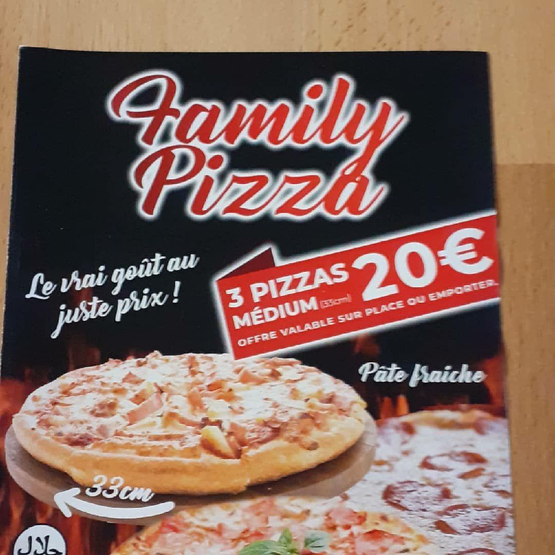 Lot de 3 pizzas Medium (33 cm) - sur place ou à emporter - Family Pizza Perpignan (66)
