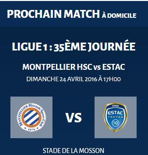 Place pour le match de Football: Montpellier HSC vs Estac Troyes