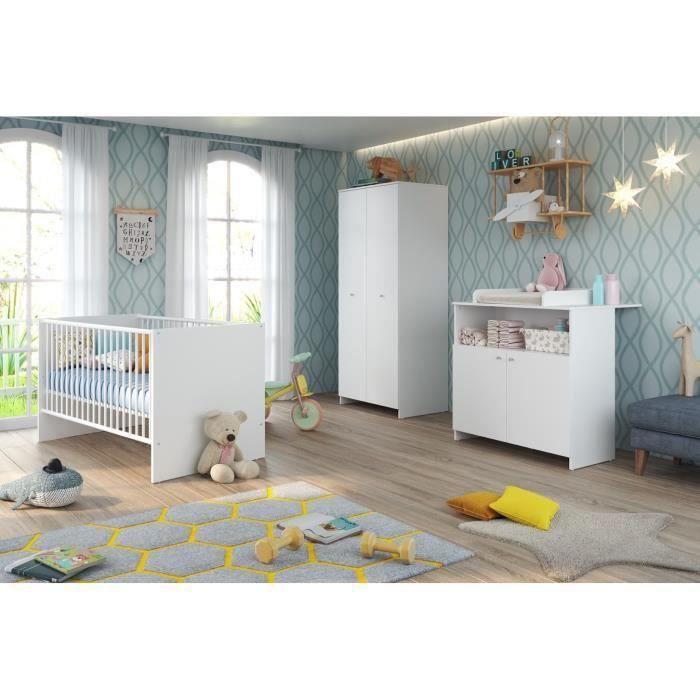 Chambre pour bébé Niko - 1 lit à barreaux réglable (70x140cm), Commode + Plan à langer, Armoire 2 portes