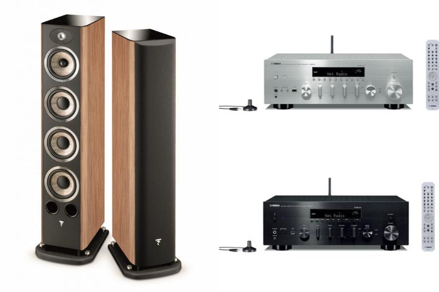 Pack Paire d'Enceintes Colonne Focal Aria 936 Prime Walnut + Amplificateur Yamaha R-N803D Noir ou Argent (+210€ fidélité Adhérents)