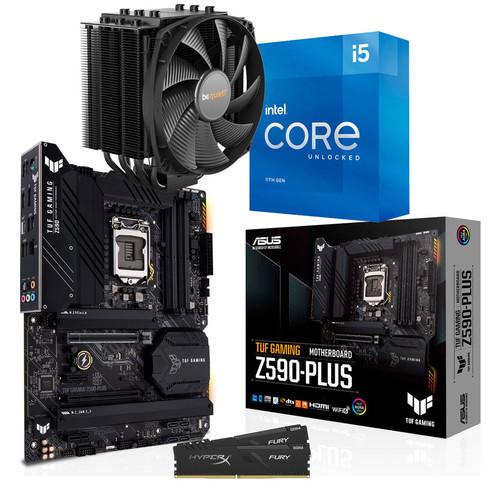 Kit d'évolution PC : Processeur Intel Core i5-11600K + Carte mère Asus TUF Z590-PLUS + Ventirad Dark Rock 4 + 16 Go de RAm DDR4