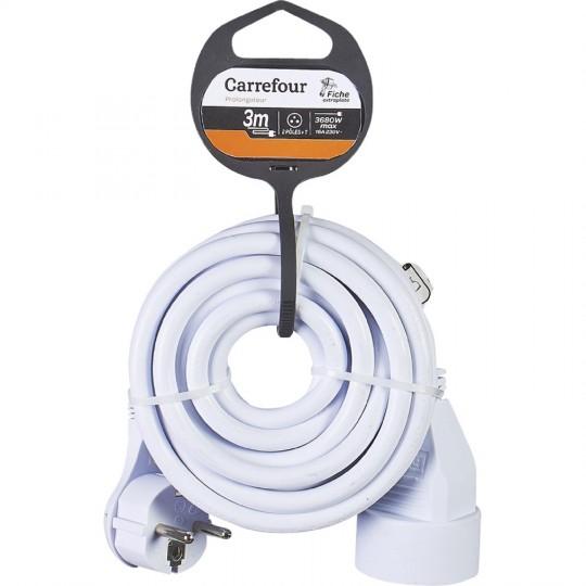 Rallonge électrique Carrefour - Prise plate, 3M (Via 1,35€ sur Carte Fidélité)