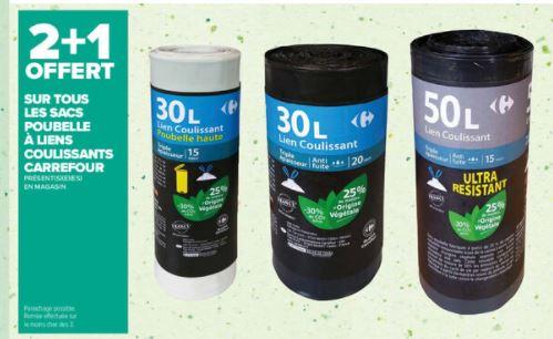 2 Lot de Sacs poubelle Carrefour Achetés = Le 3ème offert - Ex: 3 paquets de 15 Sacs de 50L