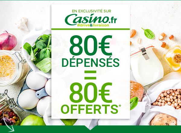 Lot de 4 bons d'achat de 20€ valables dès 80€ de courses offerts pour 80€ d'achat (un bon par semaine pendant 4 semaines)