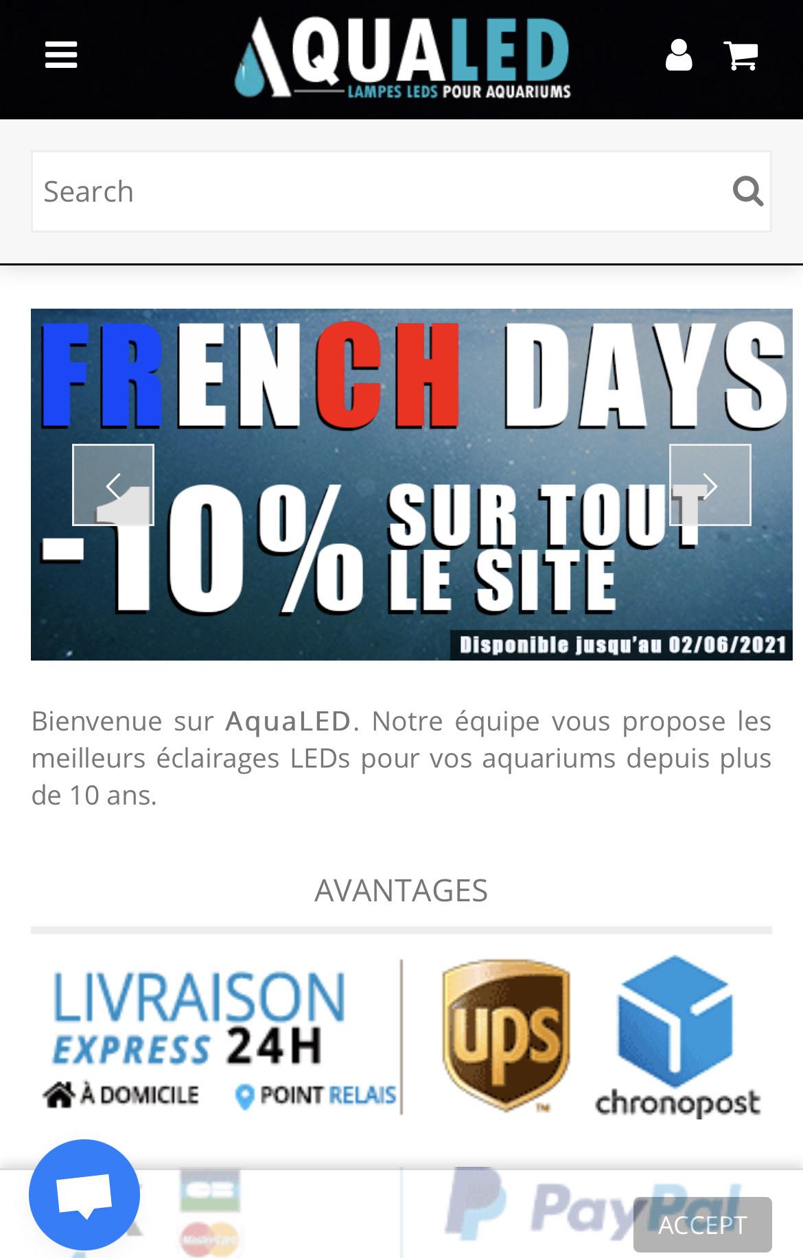 10% de réduction sur tout le site - Aqualed.fr