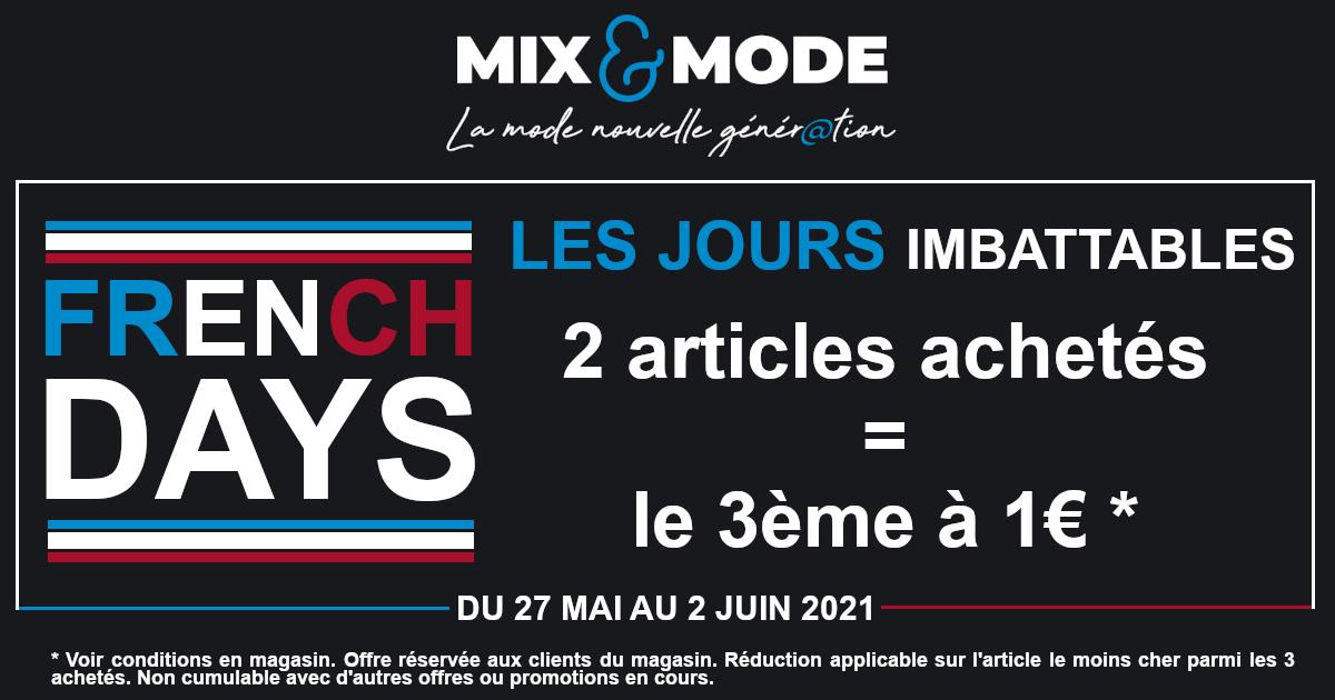 2 articles achetés = le troisième à 1€ - Mix & Mode Lesneven (29)