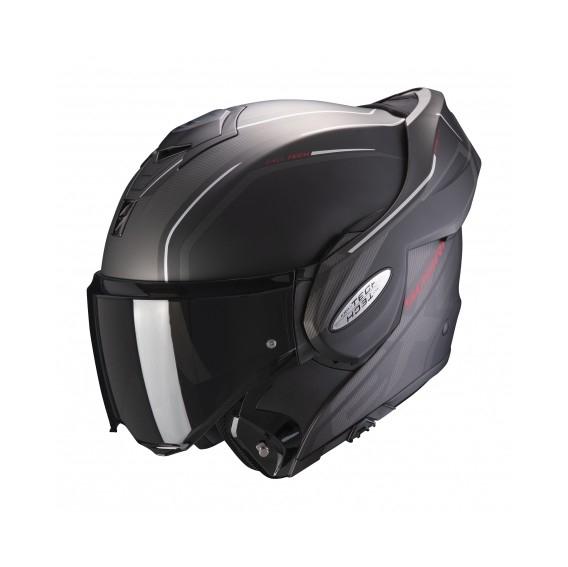Casque moto modulable Scorpion Exo Tech Time Off Mat Rouge - Du S Au XL