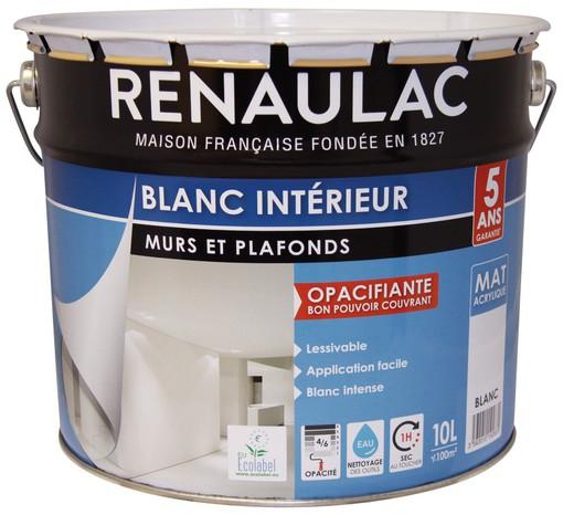 Peinture blanche acrylique d'intérieur Renaulac - Aspect mat, 10L