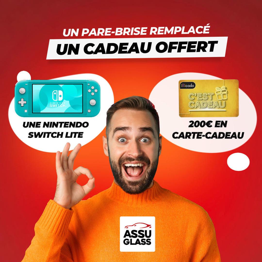Console Nintendo Switch Lite offerte pour le changement d'un Pare-Brise - Assuglass Nantes (44)
