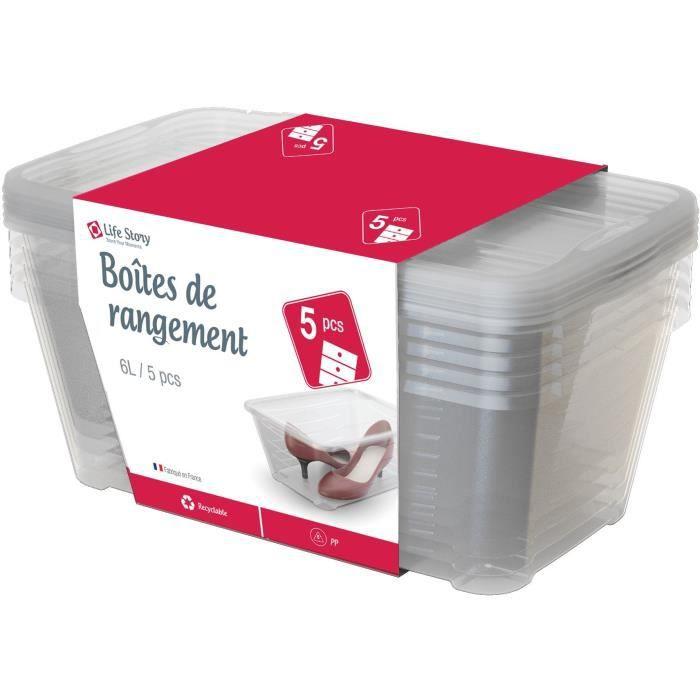 Lot de 5 boîtes transparentes Life Story - 5 x 6 L