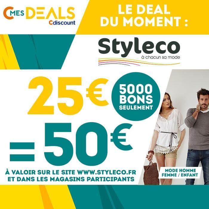 50€ à dépenser en magasin ou sur le site Styleco