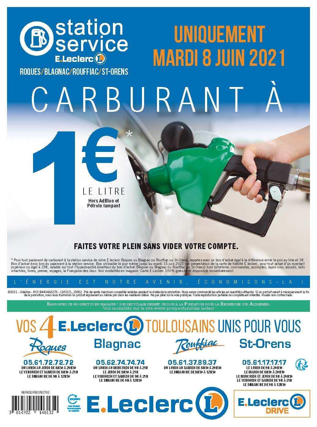 Carburant à 1€ le litre (via bon d'achat) - Roques, Blagnac, Rouffiac, St orens (31)