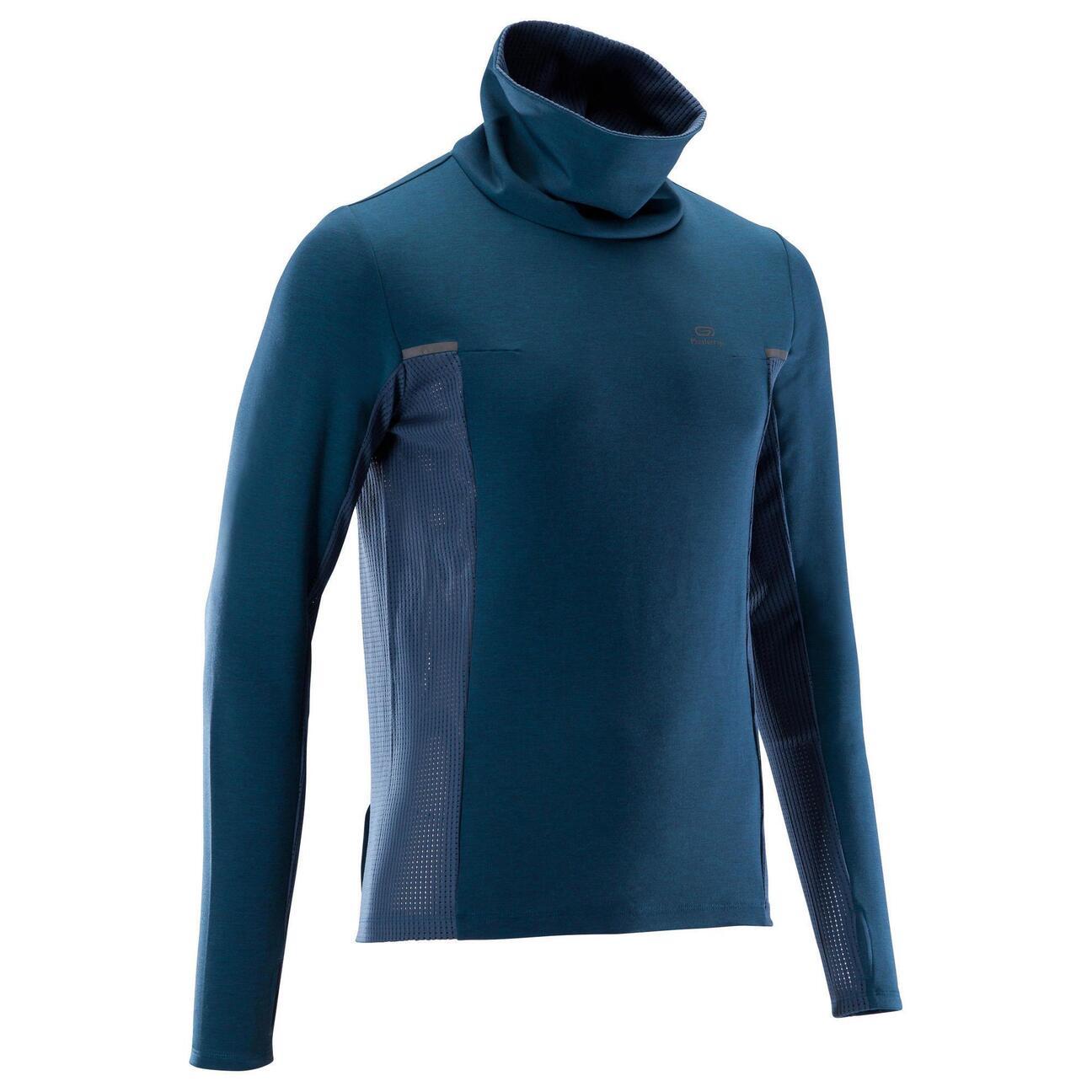 Sweat à col montant de jogging Kalenji Run Warm+ pour Homme - Bleu, Tailles S à 2XL