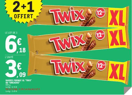 Lot de 3 paquets de barres de chocolat forma XL Twix ou Snickers