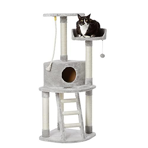 Arbre à chat Amazon Basics - tour avec griffoir et échelle, 48 x 48 x 132 cm, Gris