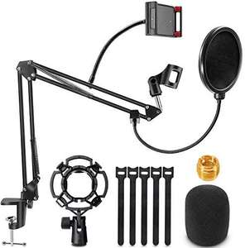 Support pour Microphone Universel : Bras réglable + Shock Mount + Filtre Anti-Pop + Bonnette + Support Smartphone (Vendeur tiers)