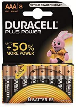 Lot de 8 piles alcalines Duracell Plus - AAA, 1.5V