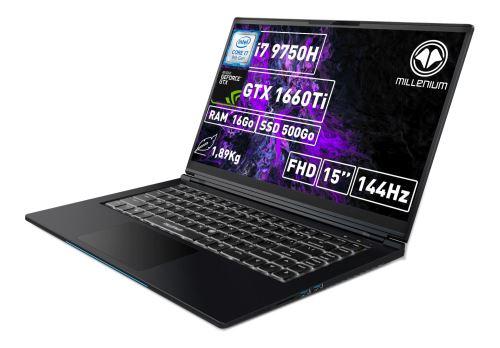 "PC Portable Gaming 15,6"" Millenium ML3 - i7-9750H, 16 Go RAM, 512 Go SSD, GTX 1660 Ti, Noir"