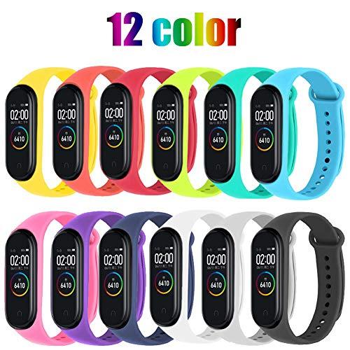 Lot de 12 bracelets de rechange pour bracelet connecté Xiaomi Mi Band 3 / 4 - en silicone (vendeur tiers)
