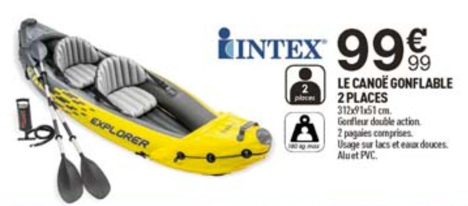 Canoë gonflable 2 personnes Intex Explorer K2 - avec pompe + rames