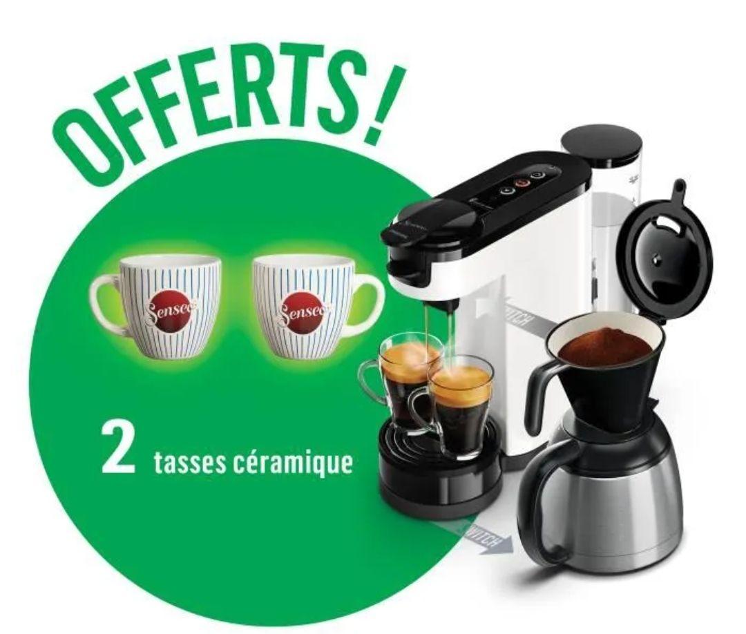 Machine à dosettes et café filtre 2 en 1 Philips Senseo Switch HD6592/01 - 1450 W + 2 tasses céramique offerts