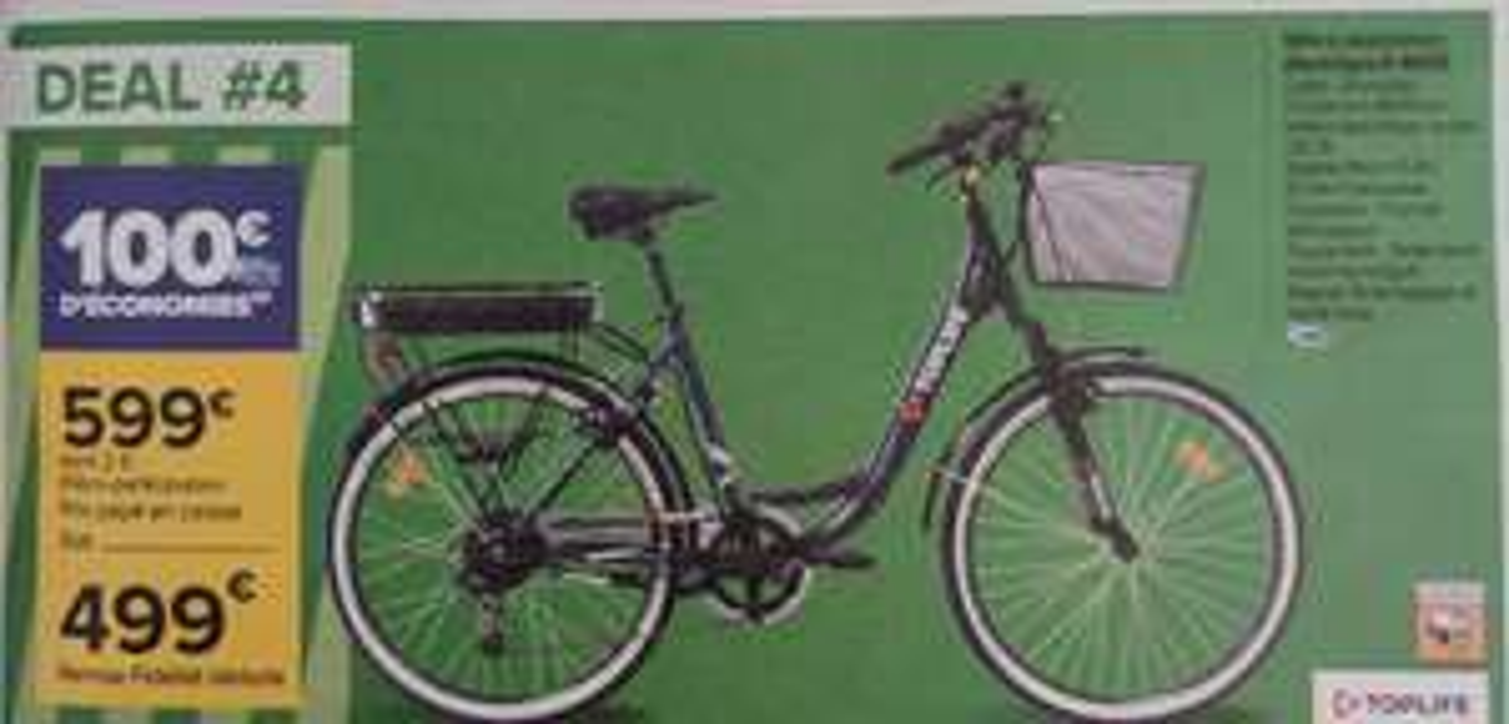 Vélo de ville à assistance électrique Toplife Denver E-4600 (via 100€ sur la carte de fidélité)